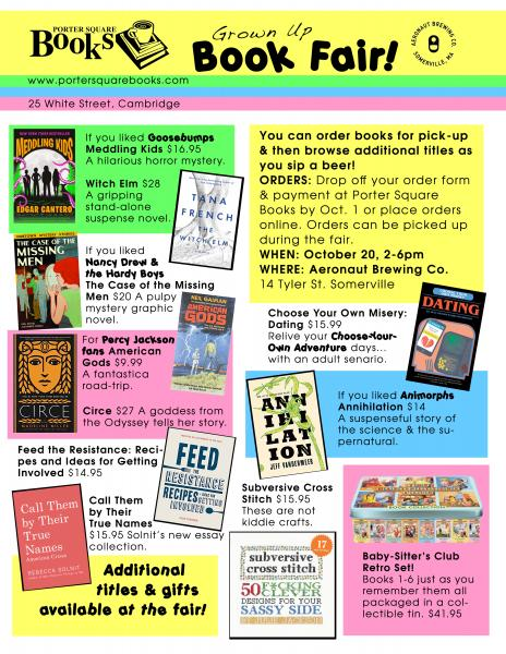 Flyer for the Porter Square Books Grown Up Book Fair