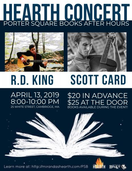 Poster for the Hearth Concert Series at Porter Square Books