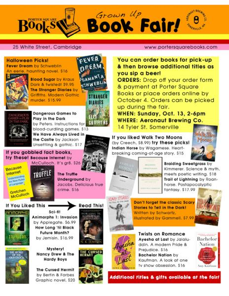 Flyer for the 2019 Summer Reading Grown Up Book Fair